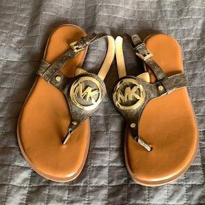Michael Kors brown logo sandals